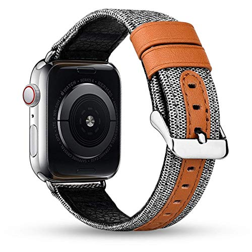 iBazal Banden Compatibel met iWatch Serie 5 Serie 4 Serie 3 Serie 2 Serie 1 Riemen 44mm 42mm Canvas Stof Lederen Horlogebanden Vervanging Polsbandjes Polsriem Armbanden Horlogebandjes - Wit/Zilver 42