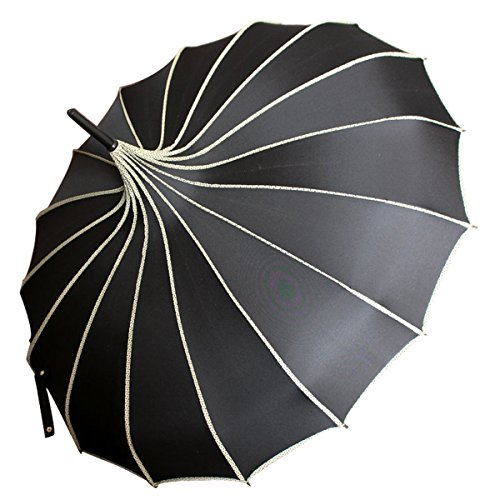 VIVI SKY Pagoda Peak Old-Fashionable Ingenuity Umbrella Parasol (Black)