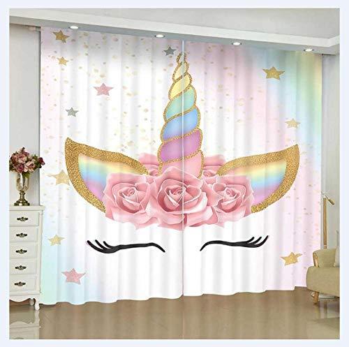 2er Set Farbe Einhorn Vorhang mit Ösen, Gardine aus Polyester Wärmeisolierender Blickdicht, für Schlafzimmer Wohnzimmer Babyroom,140Wx160H.