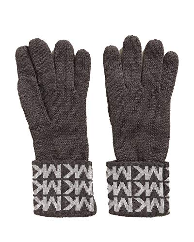 Sweet Deal – Michael Kors Womens Gloves MK Logo Knit Cuffed Gloves Black White