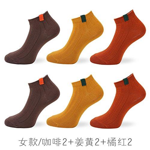 ZHFC-japanische Frauen dünnen socken socken helfen die koreanischen Studenten niedrige Stealth - socken socken socken Sportsocken Farbe seicht,weibliche Models - 2 orange kurkuma Kaffee