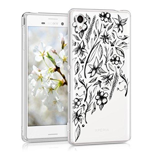 kwmobile Funda para Sony Xperia M4 Aqua - Carcasa Protectora de TPU con diseño de Flores Dibujadas en Negro/Transparente