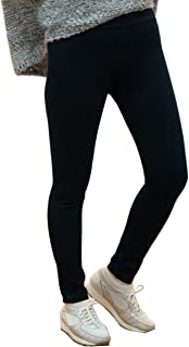 Again1231 Women's Winter Thick Fleece Lined [Black+Brown Set] Warm Stretch Tummy Control Leggins Pants