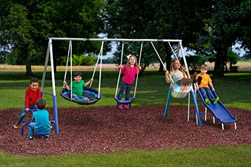 Swingin Free Galvanized Swing Set with Bonus Firefly Seat 5 Play Stations up to 7 Kids product image