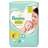 Pampers Lot de 56 couches Taille 1, 2-5 kg, New Baby, New Born, Premium Protection