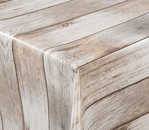 EHT Tischdecke Wachstuch Gartentischdecke rund eckig oval in verschiedenen Größen Meterware Wachstichdecke Holzoptik Rustikal