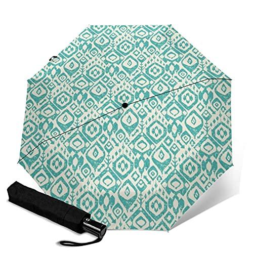 Paraguas automático de tres pliegues, resistente y automático, con cierre abierto, resistente al viento, plegable, para viajes, protección UV, color turquesa