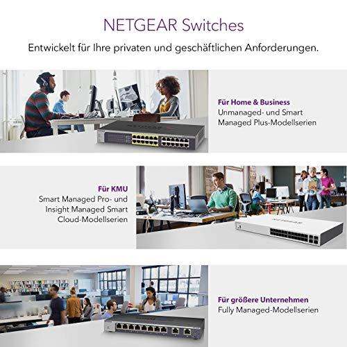 NETGEAR GS324T 24 Port Gigabit Ethernet LAN Switch Smart (2x 1G-SFP, Netzwerk Switch Managed WebGUI, VLAN, IGMP, QoS, Desktop oder 19 Zoll Rack-Montage, lüfterloses Metallgehäuse)