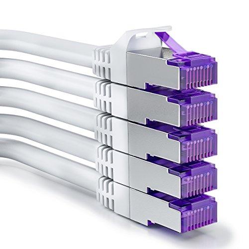 deleyCON 5X 0,25m RJ45 Patchkabel Set Ethernetkabel Netzwerkkabel mit CAT7 Rohkabel S-FTP PiMF Schirmung Gigabit LAN Kabel SFTP Kupfer DSL Switch Router Patchpanel - Weiß