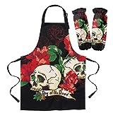 QAZQAZ Delantal Chefs Cocina Delantal Kit Red Rose Skull Kitchen Babero para cocinar Jardinería Mujer Niños Delantales Cuff Accesorios para Hornear-Apron_Cuff_Set_M