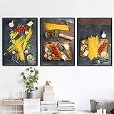 FFLSDR Carteles de Lienzo, Pintura de Comida, Espagueti Italiano, Cuadro artístico de Pared para Bar, Restaurante, decoración de Cocina Moderna, 40x60cmx3 sin Marco