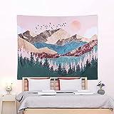 CNNIK Arazzo con tramonto e Albero Della Foresta, Appendere a Parete Montagna Psichedelico, Paesaggio Naturale Tapestry, per Camera da Letto Soggiorno Decorazione, 130 * 150cm