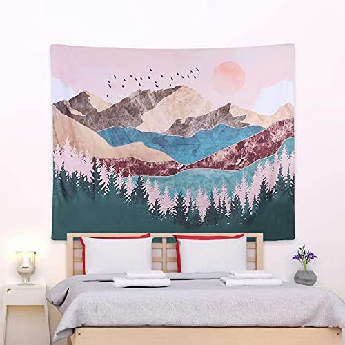 CNNIK Tapiz de Puesta de Sol, Colgante de Pared Bosque Árbol Montaña, Tapiz de Paisaje de Naturaleza Psicodélico, Aesthetic Room Decor para Habitación Dormitorio y Sala de Estar, 130 * 150cm