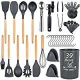 Docgrit Kitchen Utensil Set- 39 PCs Cooking Utensils with Oven Mitts, Ice Cream Scoop, Can Opener,...