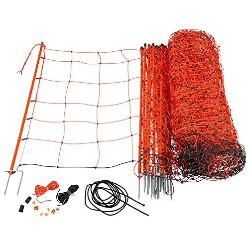VOSS.farming Schafnetz Elektronetz 50m 2 Spitzen 90cm 14 Pfähle Orange Schafzaun Elektrozaun Weidezaun
