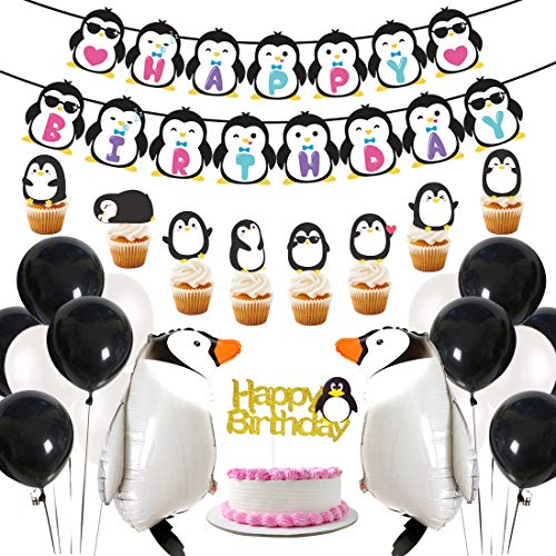 Pinguin Party Supplies Alles Gute zum Geburtstag Banner Walking Pinguin Luftballons Cake Toppers für Geburtstagsfeier, Baby Shower Dekorationen
