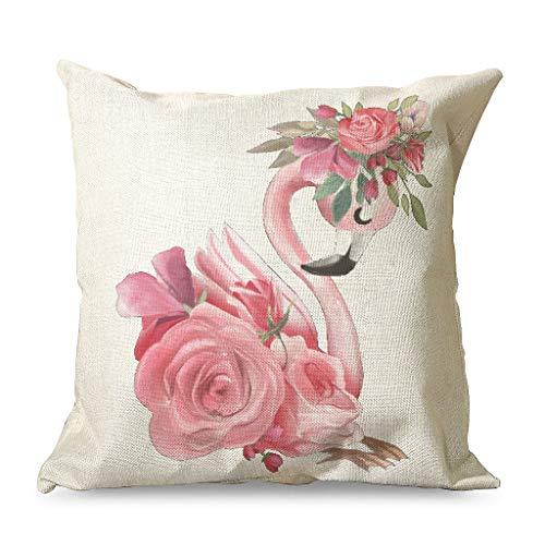 Daiyyjunn - Funda de almohada hipoalergénica, diseño cuadrado con flores rosas, color rojo y rosa