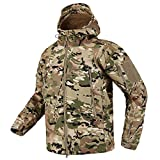 CARWORNIC Men's Tactical Outdoor Hunting Jacket Waterproof Softshell Fleece Camouflage Jackets (CP, X-Large)