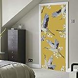 Grúas artísticas de estilo japonés Vinilo autoadhesivo Papel pintado de cocina extraíble Pegatinas de puerta para el hogar 30x79 pulgadas (77x200cm) 2 piezas