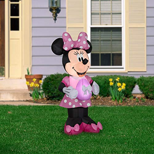 Gemmy Airblown Inflatable Minnie Mouse in Pink Polka Dot Easter Dress, 3.5 ft Tall, Pink