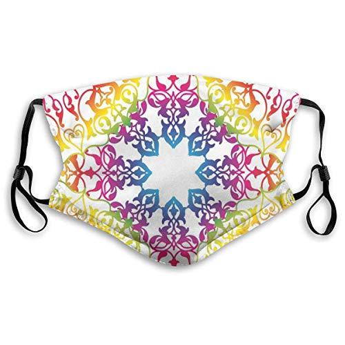 YYTT8 Gesichtsschutz Mundschutz Ombre Lebendiger Regenbogen Farbiger Mandala Tie Dye Effekt Blume Kinder Hippie