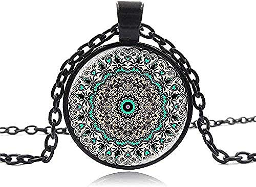 YOUZYHG co.,ltd Necklace Silver Plated Yoga Chakra Necklace Mandala Glass Cabochon Pendant Vintage Om Zen Necklaces for Women Gifts DIY Jewelry