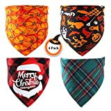 4 Packs of Triangle Dog Scarf, Reversible Cat and Dog Scarf for Christmas and Other Holidays, Soft Holiday Dog Bandanas,Suitable for Large, Medium and Small Dogs.