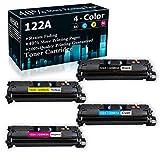 4-Pack (BK+C+Y+M) 122A   Q3960A Q3961A Q3962A Q3963A Remanufactured Toner Cartridge Replacement for HP Color Laserjet 2840 2820 2550L 2830(Q3964A) 2550n 2550Ln Printer Ink Cartridge