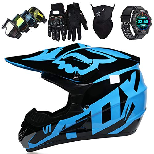 Casco de moto, JMY-01 Set Casco Motocross para Niños Jóvenes Adultos con Reloj Deportivo Inteligente Casco MTB Integrales para Downhill Quad Bike Enduro - con Diseño FOX, Brillante Negro Azul,XL