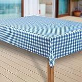 laro Wachstuch-Tischdecke Abwaschbar Garten-Tischdecke Wachstischdecke PVC Plastik-Tischdecken Eckig Meterware Wasserabweisend Abwischbar, Muster:Bavaria Blau, Größe:140-140 cm