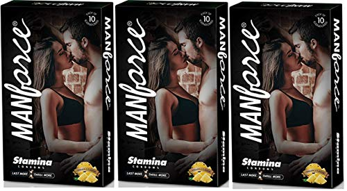 Manforce More Long Lasting Extra Dotted Stamina Pineapple Flavor Condoms – Set Of 3 (30 Condoms)