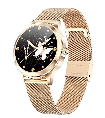 Milostar LW07-2021 Smartwatch für Damen, 1,1 Zoll, Full Touch, Multi-Sensor, für iOS und Android, IP68 wasserdicht, Herzfrequenzmesser, Blutdrucksensor, Bluetooth, Rosé Gold