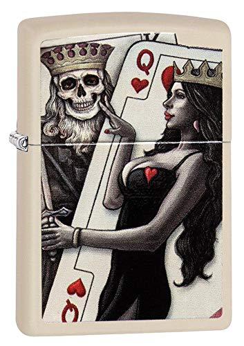 Zippo Skull King Queen Beauty Pocket Lighter, Cream Matte, One Size (ZO11979)