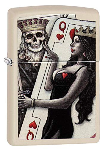 Zippo Skull King Queen Beauty Pocket Lighter, Cream Matte, One Size (ZO11979)