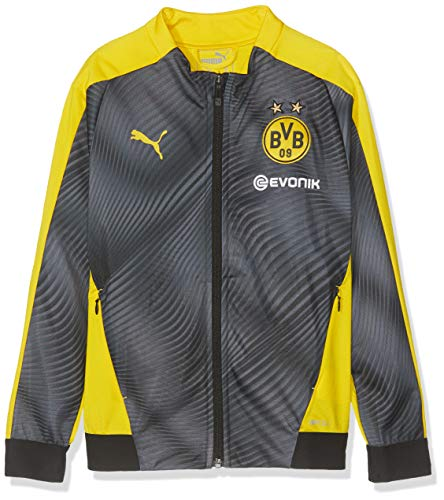 PUMA Kinder BVB League Stadium Jacket Jr with Evonik Trainingsjacke, Cyber Yellow Black, 164
