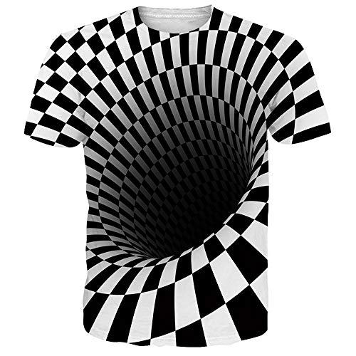 NEWISTAR Unisex Jugend 3D Druck Grafik Casual Kurzarm T-Shirt , Square, XXL