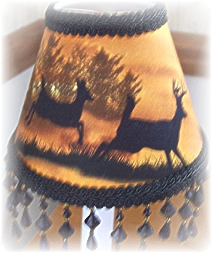 Sunset Silhouette Deer WOODLAND LODGE CABIN MINI LAMP SHADE with or w/o Beading