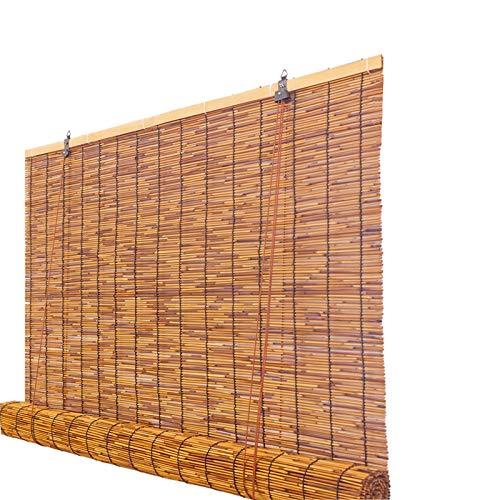 Zlovne Carbonización Retro Persiana Enrollable de Bambú,Estores de Bambú Natural,Transpirable/Protector Solar Persianas de Caña,Patio,Porche,Balcón,Jardín Estor de Bambú (W90xH100cm/36x39in)