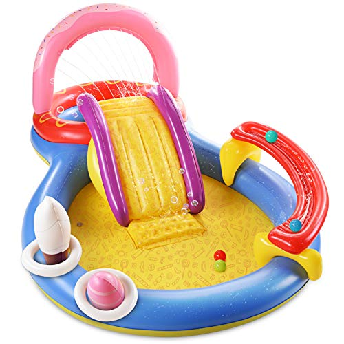 Inflatable Play Center with Pool, Slide, Fountain Arch, Ball Roller - $99.99 Today