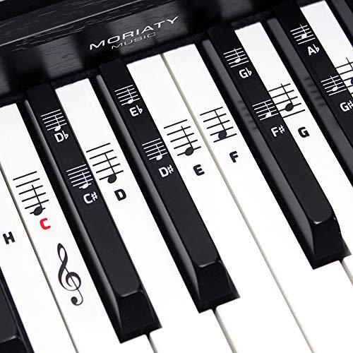 MORIATY® Klavier + Keyboard Noten-Aufkleber für 49 | 61 | 76 | 88 Tasten + Klavierschule | Piano Sticker Komplettsatz für schwarze + weiße Tasten | C-D-E-F-G-A-H | inkl. deutscher Anleitung
