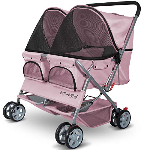OxGord Paws & Pals Double Pet Stroller For Cats, Dogs and Other Household Animals, Pink