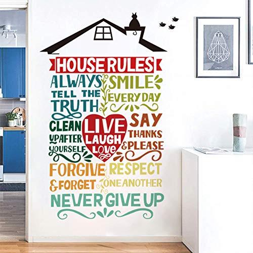 Runtoo Pegatinas de Pared Letras Reglas de Casa Stickers Frases Adhesivos Vinilo Decorativas Dormitorio Salon Habitacion Bebe