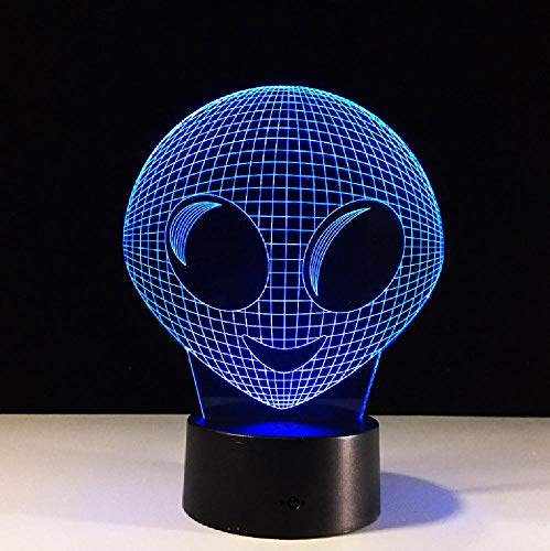 Unique Lovely 3D Movie Alien Led Table Lamp Nightlight Colorful Illusion Atmosphere Lights Decor 7 Colors Home Party Gift Light