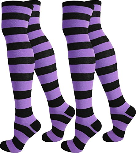 normani 2 Paar Damen Overknee Überknie Uni in Schwarz oder Weiß Farbe Schwarz/Lila/Breit