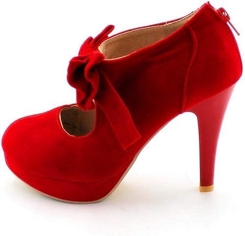 DUQI22 zapatos De Tacón Alto con Tacón Alto para mujer,rojo,38EU