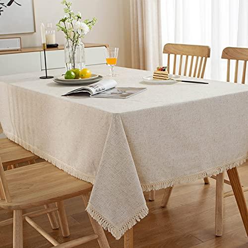 XGguo Adecuado para Cocinas Exteriores O Interiores Mantel Mesa Bola Coloreada Borla del Color Natural del Color Puro Simple del Lino del poliéster