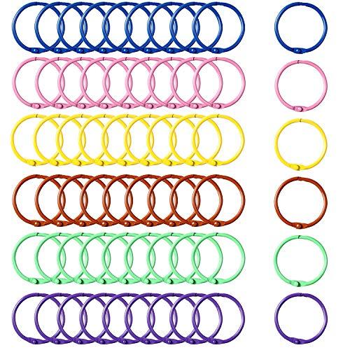 60 Piezas de Anillas de Encuadernacion de Metal Llaveros Coloridos Anilla de Carpeta de Páginas Sueltas, 6 Colores