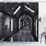 Cortina de ducha del espacio exterior de 66x72 in, Corredor futurista oscuro de la nave espacial Tecnología de aventura Impresiones de arte de ciencia ficción, Tela de tela Decoración de baño con gan