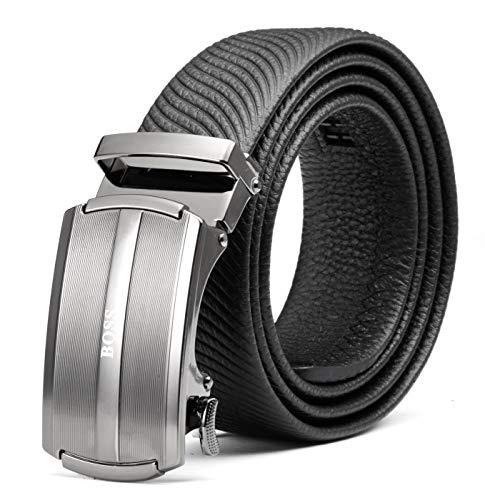 BOSS Aron Genuino Cuero Cinturón para hombres,35 mm Ajustable Trinquete Automático Hebilla Cinturón,Recortar a ¡Ajuste!