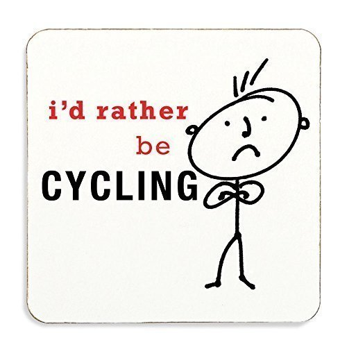 I'd Rather Be Cycling Coaster Cork Back Husband Gift Present Novelty Birthday Christmas Valentines Present